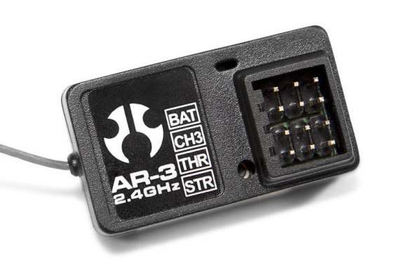 3-CHANNEL 2.4GHz RECEIVER The AR-3 2.4 GHz receiver uses no crystals so you'll experience worry free driving with no frequency conflicts. This lightweight, compact, and bind button equipped receiver with LED indicator makes setup easy!