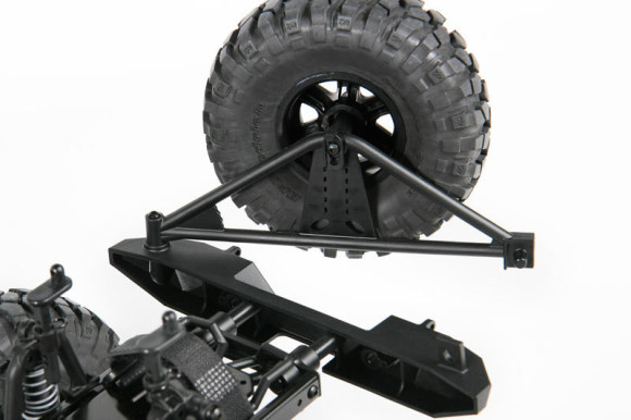 REAR BUMPER W/SWING OUT CARRIER The Poison Spyder Rock Brawler rear bumper includes a realistic swing out tire carrier and quick release spinner for mounting the spare tire, two hooks for connecting D Rings and two holes for LED lights (LED lights not included - optional AX24257 Simple LED Controller sold separately).