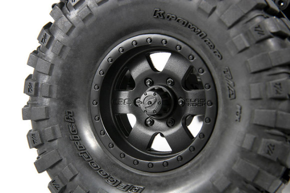 CRC EDITION BLACK ROCK WHEELS One of the first products from the Casey Currie brand are these awesome CRC edition Black Rock Wheels. You'll always find Casey running Black Rock Wheels whether he is cruising, racing or crawling. The flat black finish combined with their great strength make them the perfect addition to the Axial C/R edition Jeep® Wrangler.