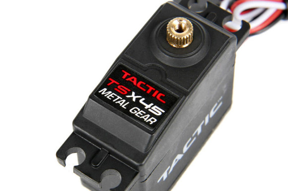 METAL GEAR TACTIC SERVO, 151 oz-in The included Tactic TSX45 metal gear servo is rated at 151 oz-in of torque for massive turning power and dual ball bearings provide smooth and precise movement for the metal gear train.